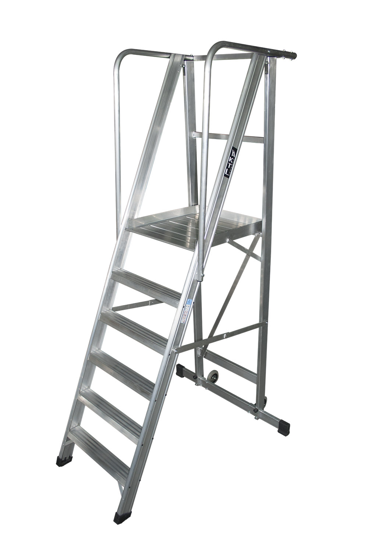 escalera m vil con plataforma plegable kastle