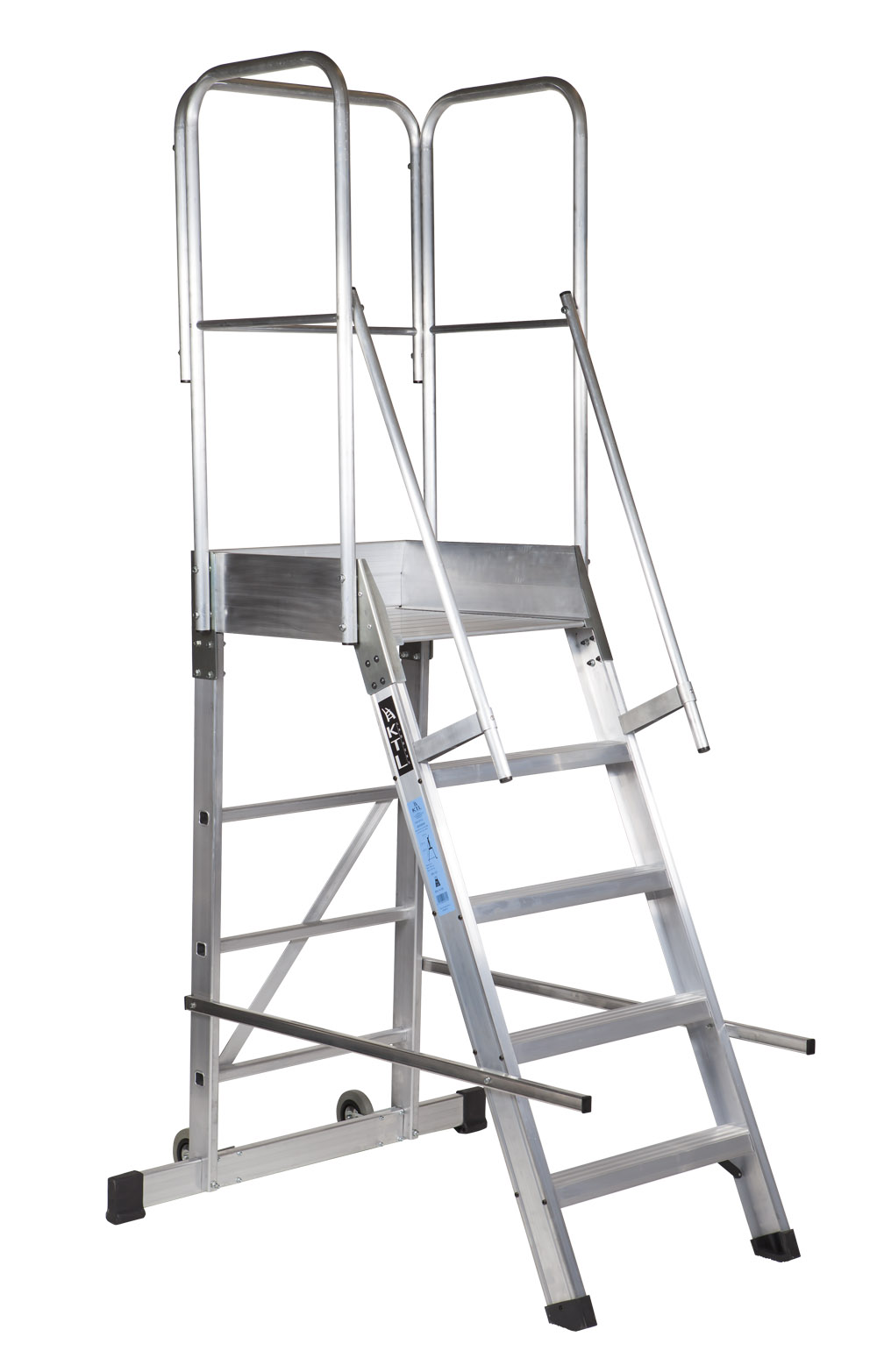 escalera de plataforma Escaleras de aluminio y andamios de aluminio KTL, a un nivel superior. EJEMPLO **EJEMPLO EP1 5peld