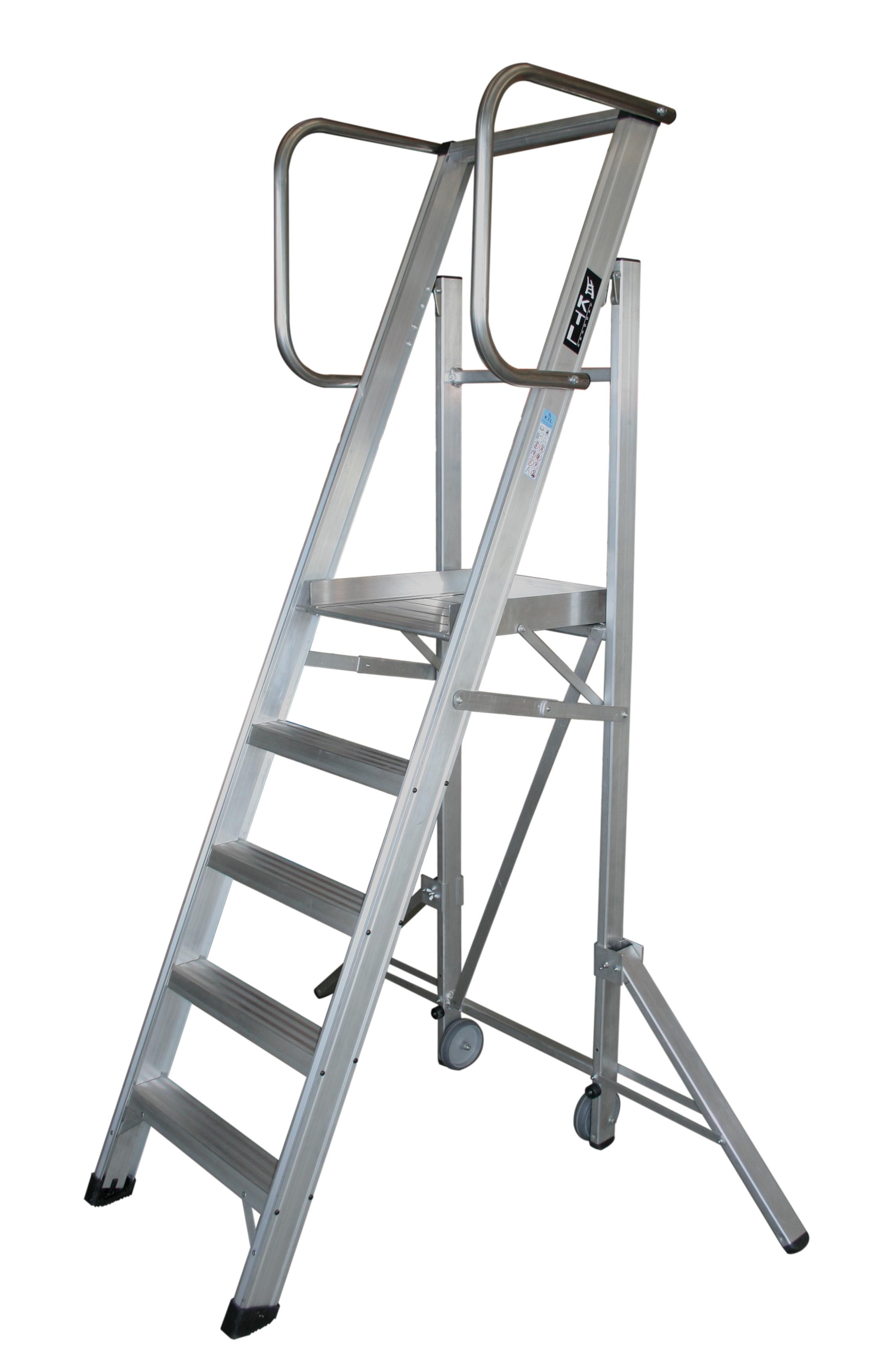 escalera móvil con plataforma, plegable, kastle Escalera móvil con plataforma, plegable, K-WORK k work 5peld